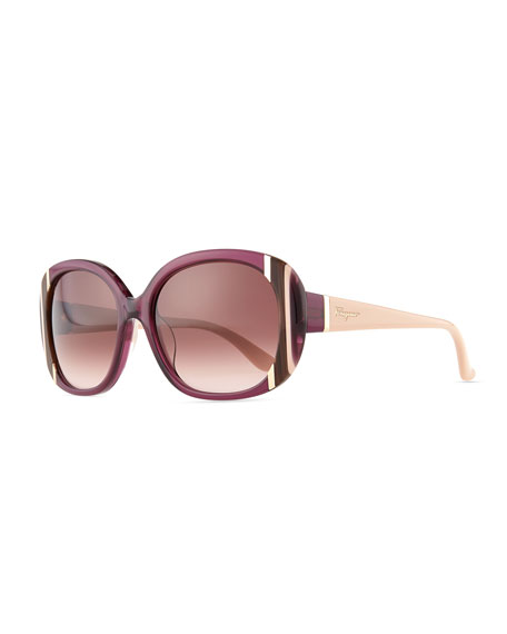 Striped Round Sunglasses, Shiny Violet