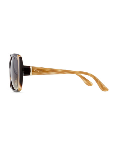 Striped Square Sunglasses, Tortoise