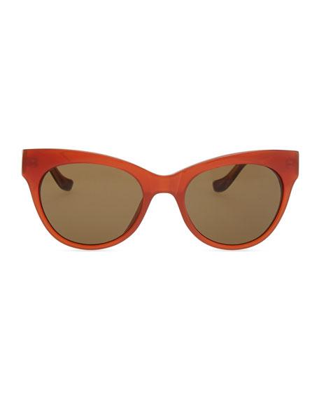 Row 36 Acetate Cat-Eye Leather-Arm Sunglasses, Rust