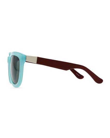 Row 7 Leather-Arm Plastic Sunglasses, Teal