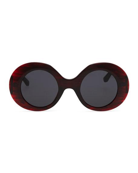 Row 48 Thick Plastic Oval Sunglasses, Dark Red