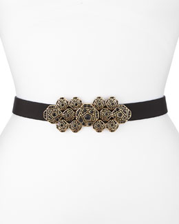 Oscar de la Renta Faille Crystal-Buckle Waist Belt, Black