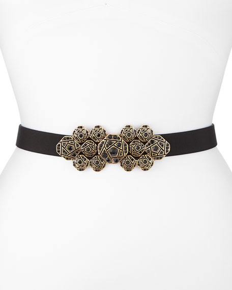 Faille Crystal-Buckle Waist Belt, Black