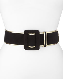Oscar de la Renta Wide Bicolor Suede Belt, Black/Gold
