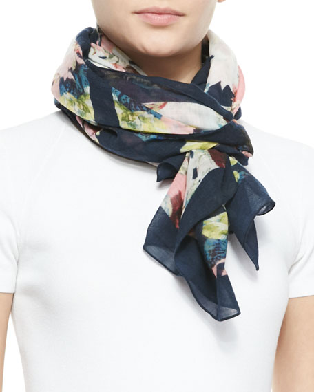 Peabody Square Wool Wallpaper Floral Print Scarf, Black/Yellow/Pink