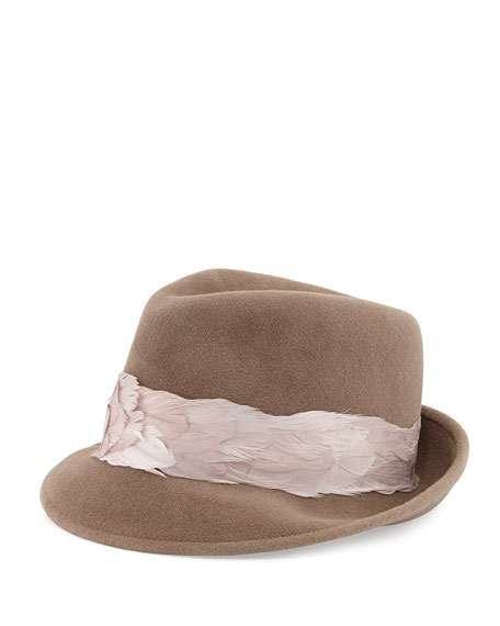 Max Rabbit Felt Fedora Hat with Feathers