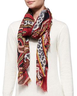 Etro Leopard-Print Cashmere Wrap, Red/Multi