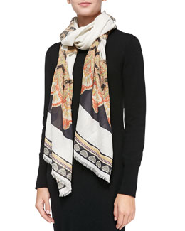 Etro Fan-Print Shawl, Black/White