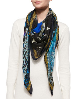 Etro Mixed-Print Wrap with Border, Blue