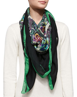 Etro Kaleidoscope Floral Wrap, Green/Black