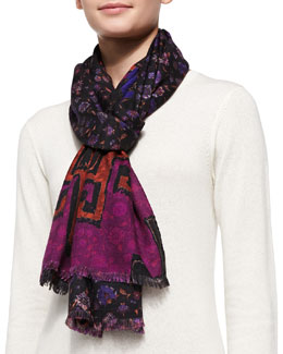 Etro Floral Print Scarf, Black/Purple/Multi