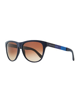 Marc by Marc Jacobs Plastic Round-Bottom Rectangle Sunglasses, Blue/Brown
