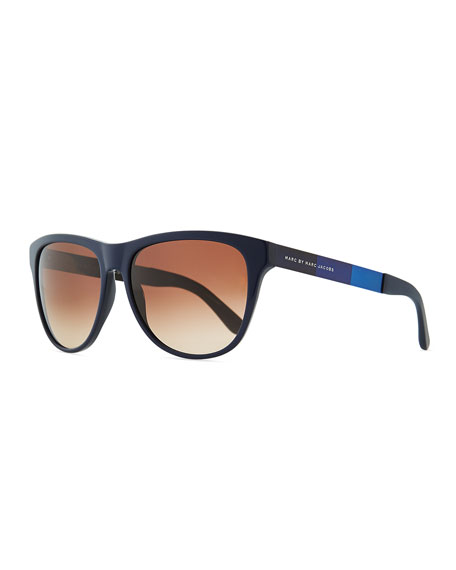 Plastic Round-Bottom Rectangle Sunglasses, Blue/Brown