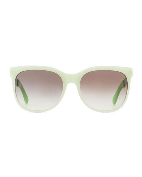Plastic Round-Bottom Rectangle Sunglasses, Green