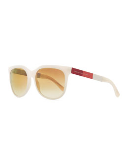 Marc by Marc Jacobs Plastic Round-Bottom Rectangle Sunglasses, Pink/Brown