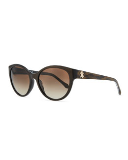 Roberto Cavalli Plastic Oval Sunglasses, Brown