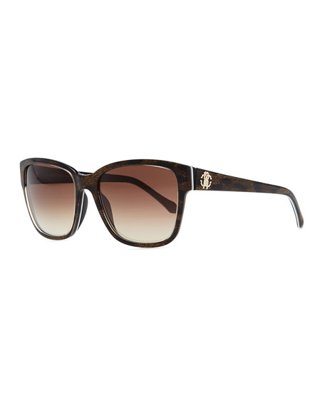 Plastic Rectangle Sunglasses, Brown