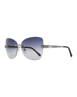 Roberto Cavalli Rimless Sunglasses with Snake-Print Arms, Palladium/Lavender