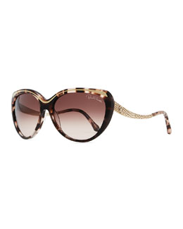 Roberto Cavalli Plastic Cat-Eye Sunglasses with Snake-Embossed Arms