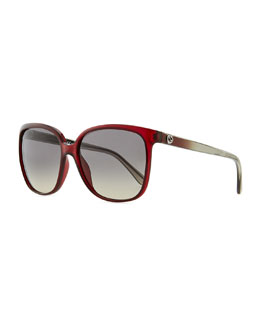 Gucci Sunglasses Plastic Rectangle Sunglasses, Red