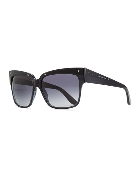 Plastic Square Sunglasses, Black/Gray