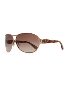 Metal Shield Sunglasses with Tortoise Arms, Copper