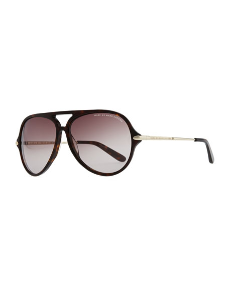 Tortoise Plastic Aviator Sunglasses, Dark Brown