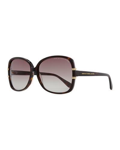 Oversized Plastic Tortoise Sunglasses, Dark Havana