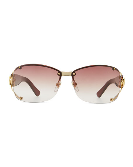 Oval Gradient Sunglasses with Open GG Temple