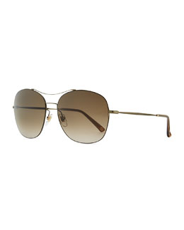 Olive Metal Round Aviator Sunglasses