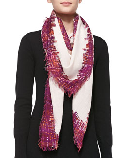 Tory Burch Painted Print Fringe Scarf, Blush