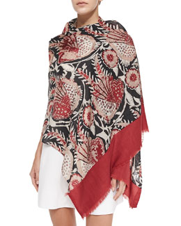 Tory Burch Bird Of Paradise Scarf, Wine