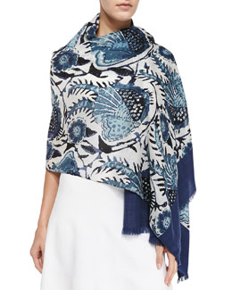 Tory Burch Bird Of Paradise Scarf, Navy
