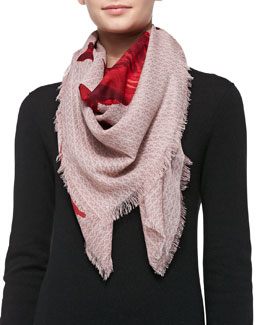 Tory Burch Geneva T-Print Square Fringe Scarf, Red
