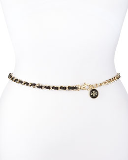 Tory Burch Logo Charm Leather Threaded Chain Belt, Black