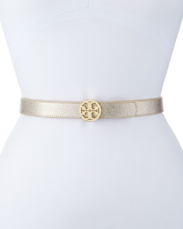 Tory Burch Reversible Leather Logo Belt, Gold/Silver