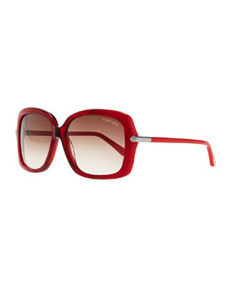 Tom Ford Plastic Square Sunglasses, Red