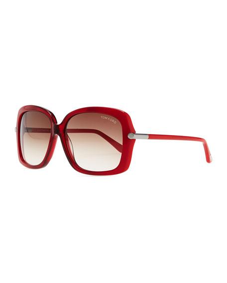 Plastic Square Sunglasses, Red