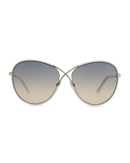 Rosie Ivory Plastic & Golden Metal Sunglasses