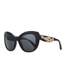 D&G Floral Cat-Eye Sunglasses, Black