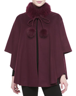 Belle Fare Fox Fur-Trimmed Cashmere Capelet, Wine