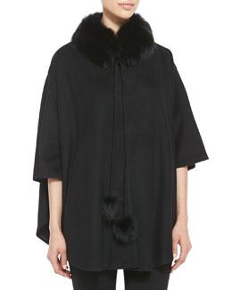 Belle Fare Cashmere Fur-Trim Capelet