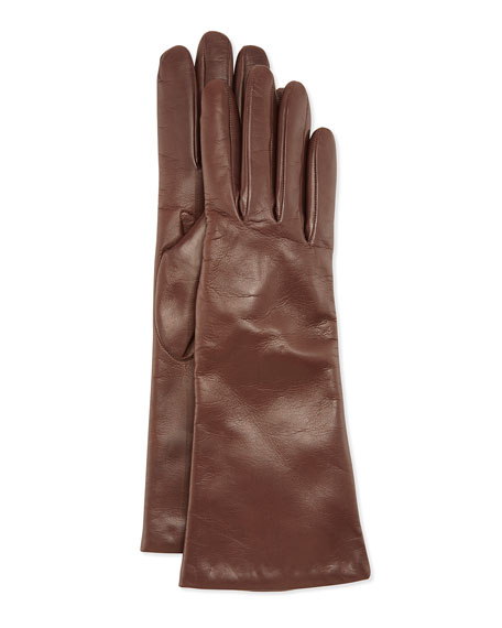 Cashmere Lined Leather Gloves, Tan