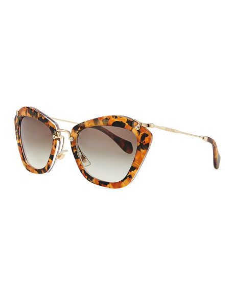 Pentagon Acetate Sunglasses, Yellow Tortoise