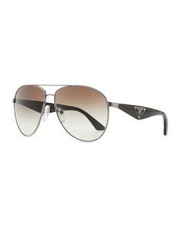 Double Bar Aviator Sunglasses, Gunmetal/Black