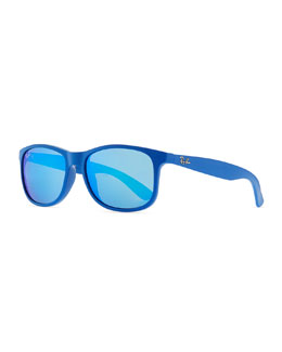 Ray-Ban Plastic Square Sunglasses with Mirrored Lens, Blue