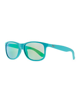 Ray-Ban Plastic Square Sunglasses with Mirrored Lens, Light Blue