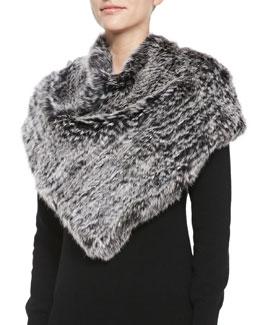 Jocelyn Triangular Rabbit Fur Poncho, Black Snow Top