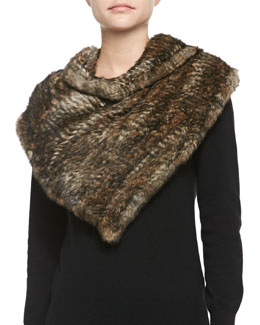 Jocelyn Triangular Rabbit Fur Poncho, Natural/Black