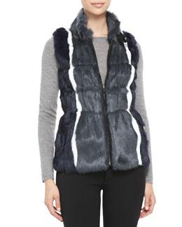 Jocelyn Reversible Striped-Rabbit-Fur Vest